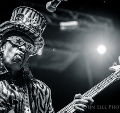 Legendary funk bassist Bootsy Collins performs at Bumbershoot. Photo by John Lill