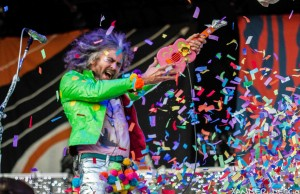 The Flaming Lips frontman Wayne Coyne get's confetti crazy during the Gentleman of the Road stopover in Walla Walla, WA.  Photo by Xander Deccio