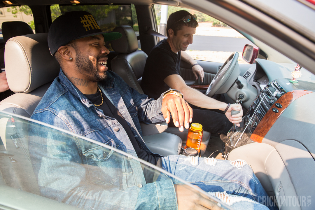 Ayron Jones and Mackenzie McAninch share a laugh as they head to White River Amphitheatre for KISW's Pain in the Grass. (Photo: Alex Crick)