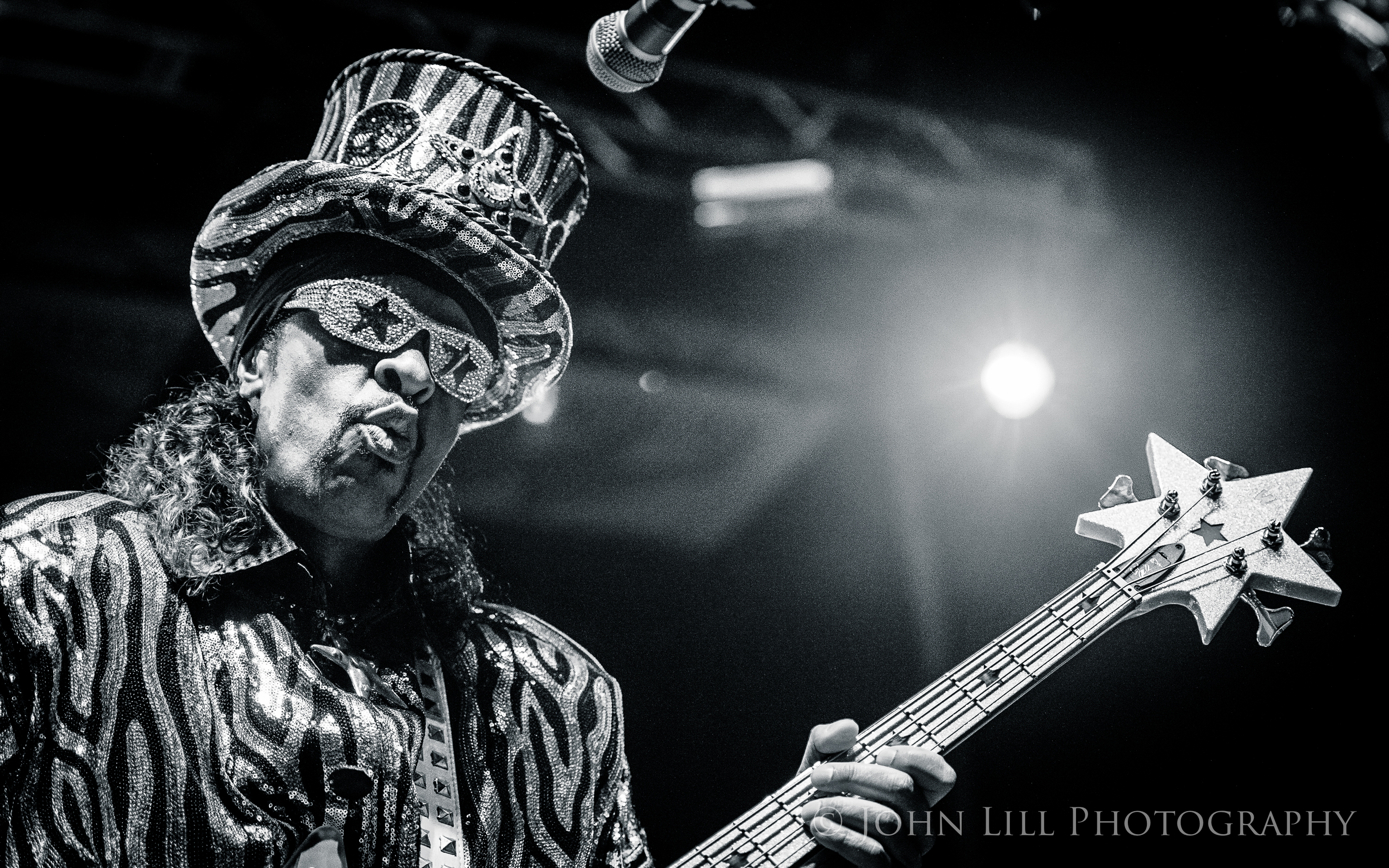 Legendary funk bassist Bootsy Collins performs at Bumbershoot. (Photo: John Lill)