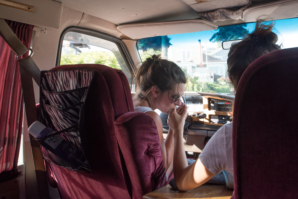 Driving in the van. (Photo by Christine Mitchell)