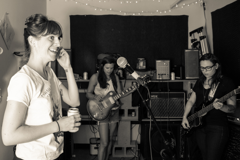 Thunderpussy in their practice space. (Photo by Christine Mitchell)